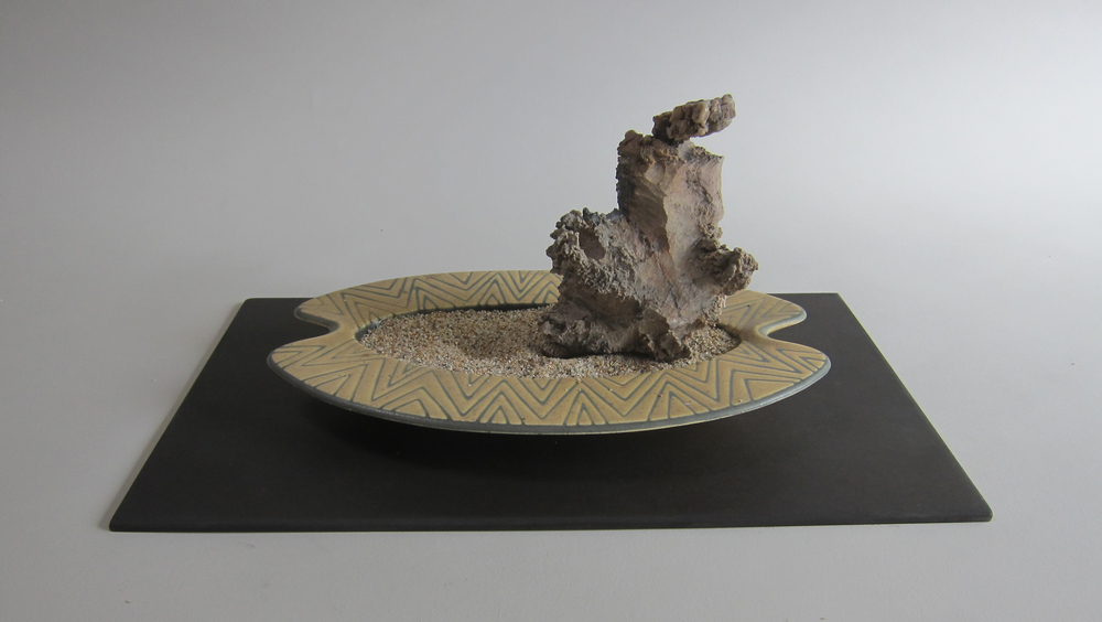 Mojave desert stone, sand, midcentury ceramic ashtray, Masonite