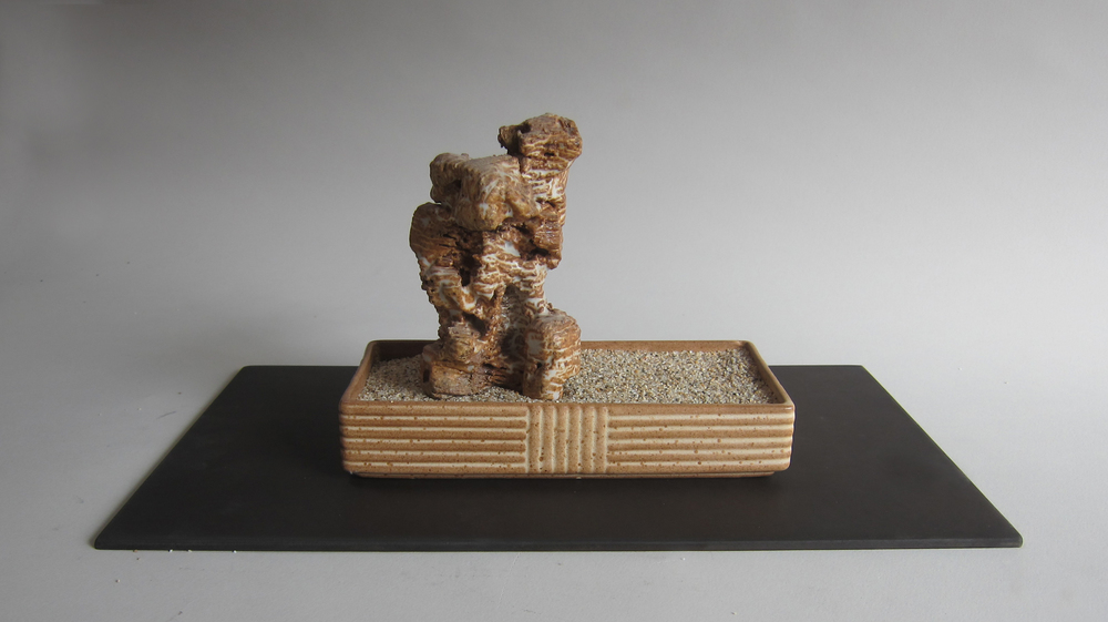Ceramic, sand, midcentury ceramic, Masonite