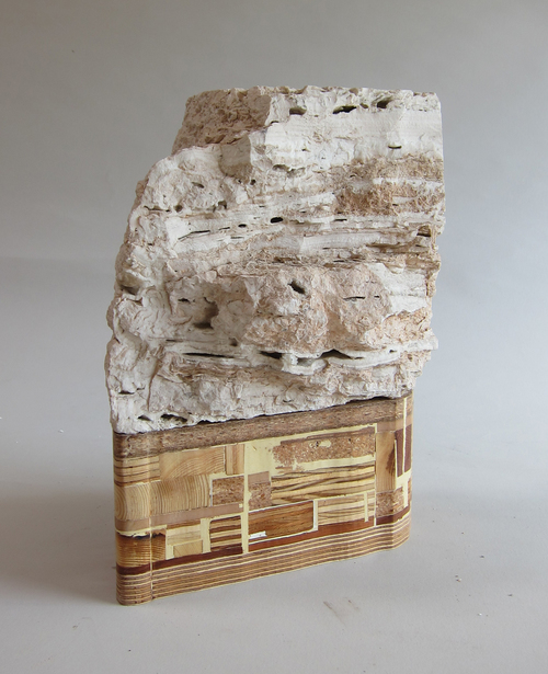 Texas limestone, wood scraps, varnish