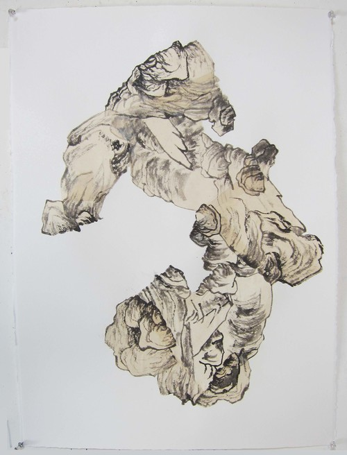 Collage: ink, rice paper, Arches paper