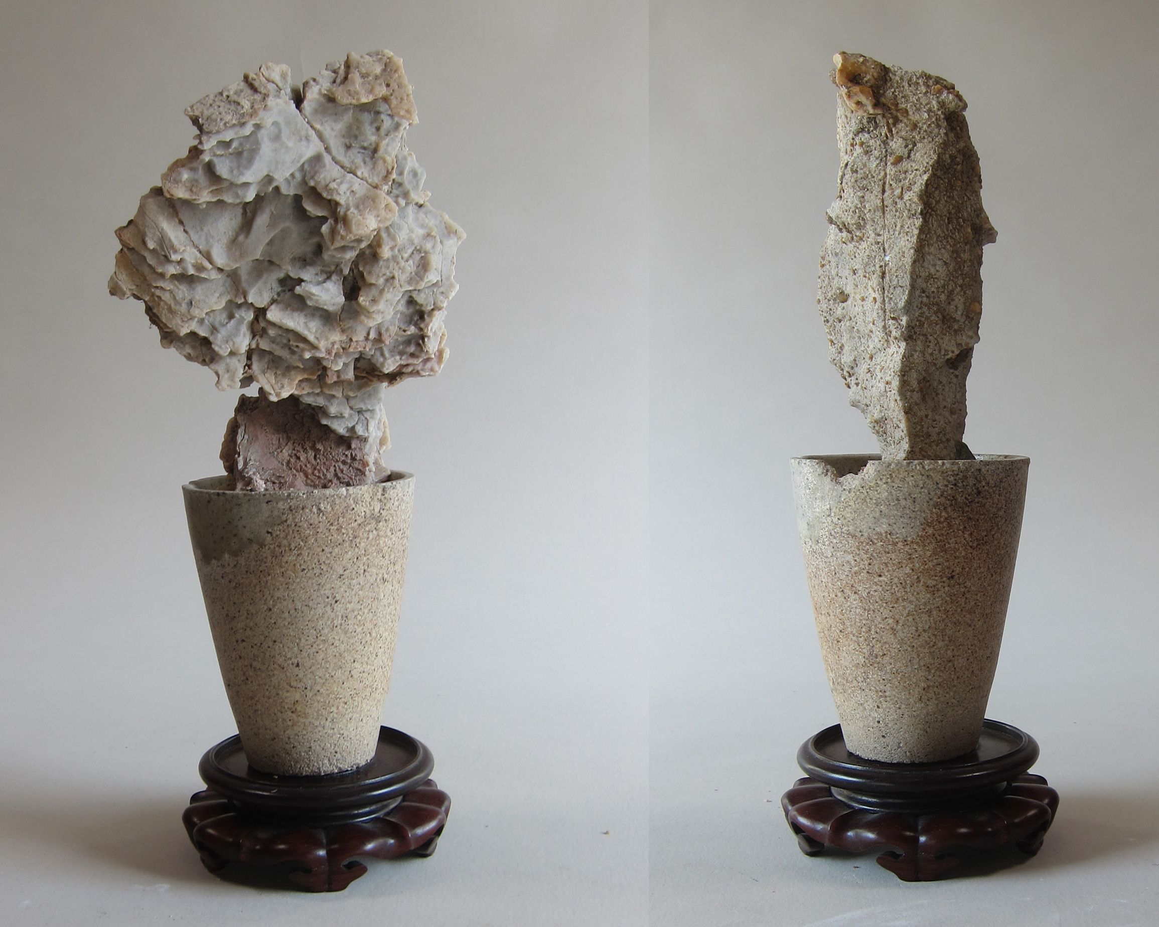 Mojave desert stone, ceramic foundry cup, wood base