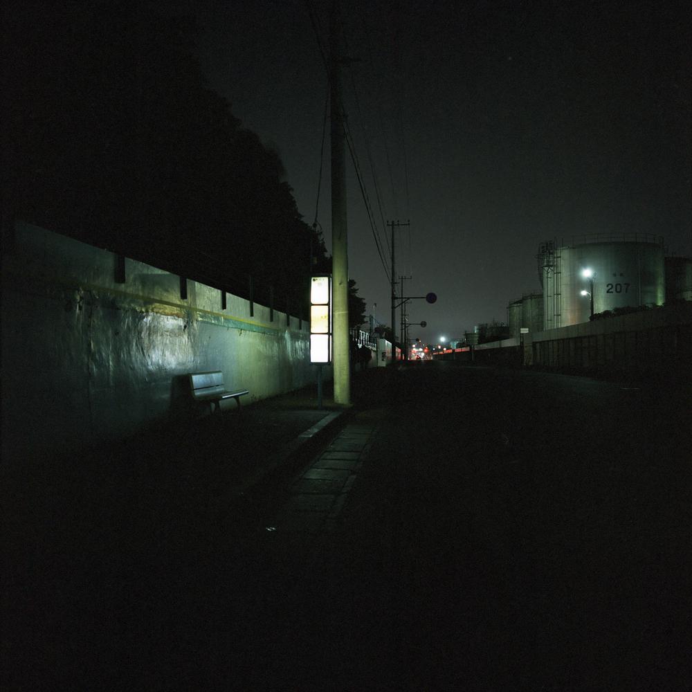 kawasaki lone bus stop shot on kodak 400nc
