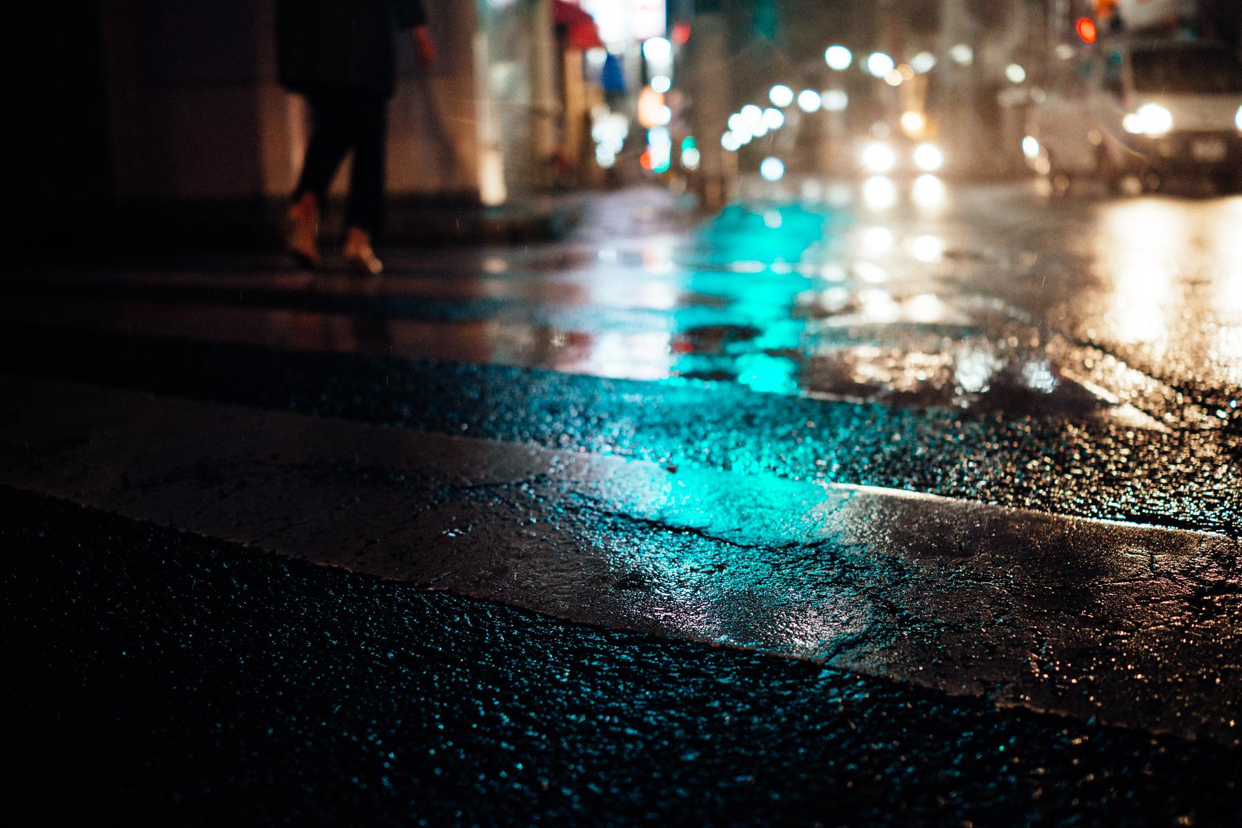 Rainy Blue Road