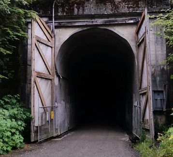 entrance to the 2.5 mile pitch black tunnel