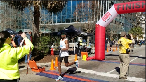 me crossing the finish line!