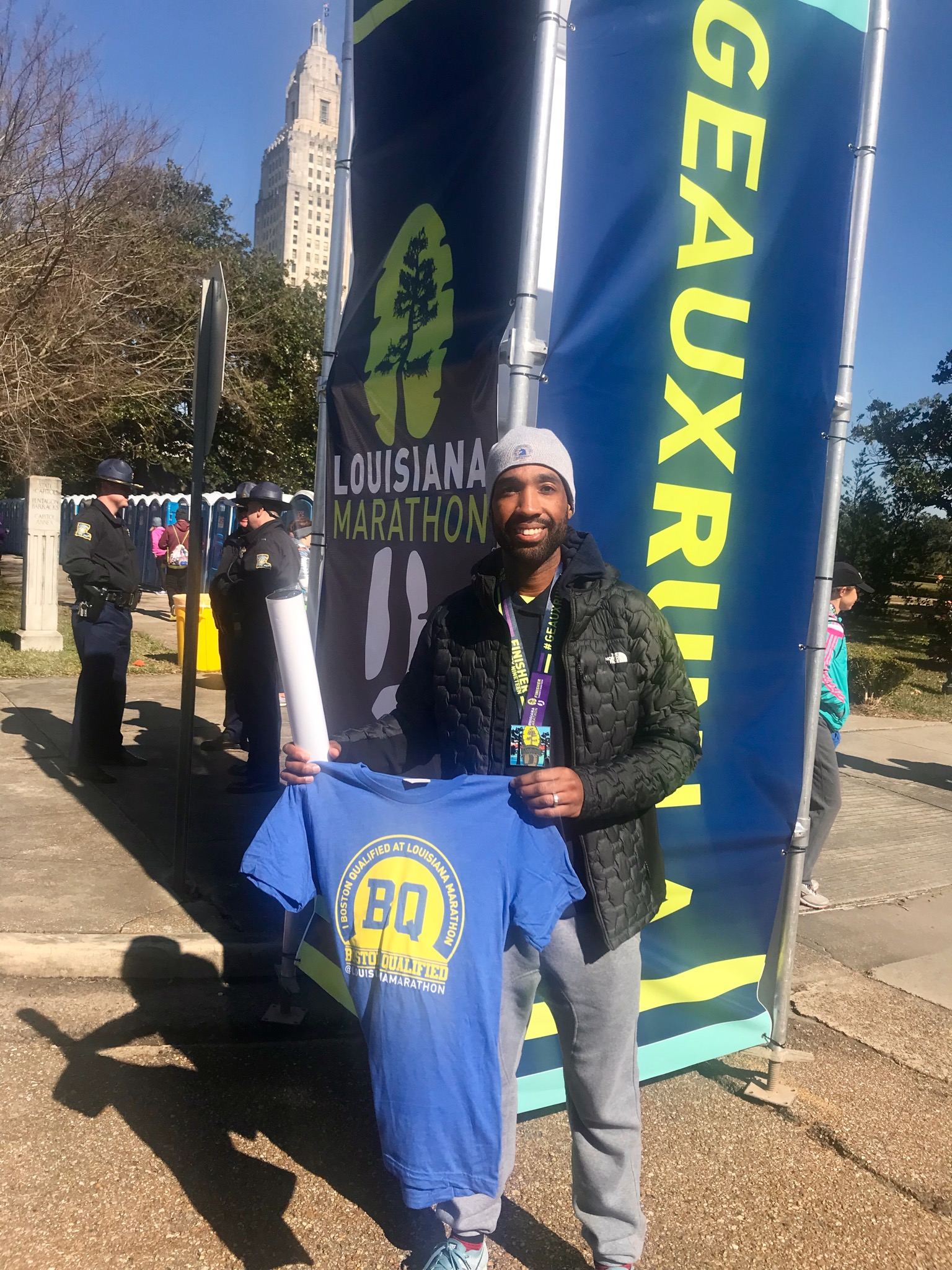 """Free """"BQ"""" Shirt - Nice touch by the race organizers to provide free high-quality shirts to every participant that ran a Boston-qualifying time at the race."""
