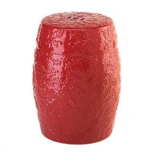 RED CERAMIC GARDEN STOOL
