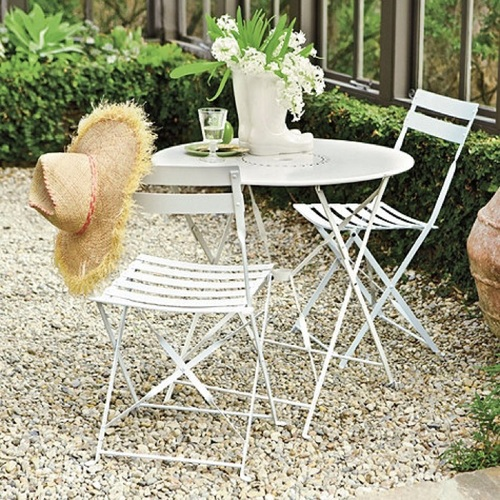 WHITE CAFE FOLDING TABLE AND CHAIRS