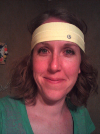 This is me, racing to my goals. My husband and girls got me a special sweatband, which make the race that much sweeter. :)