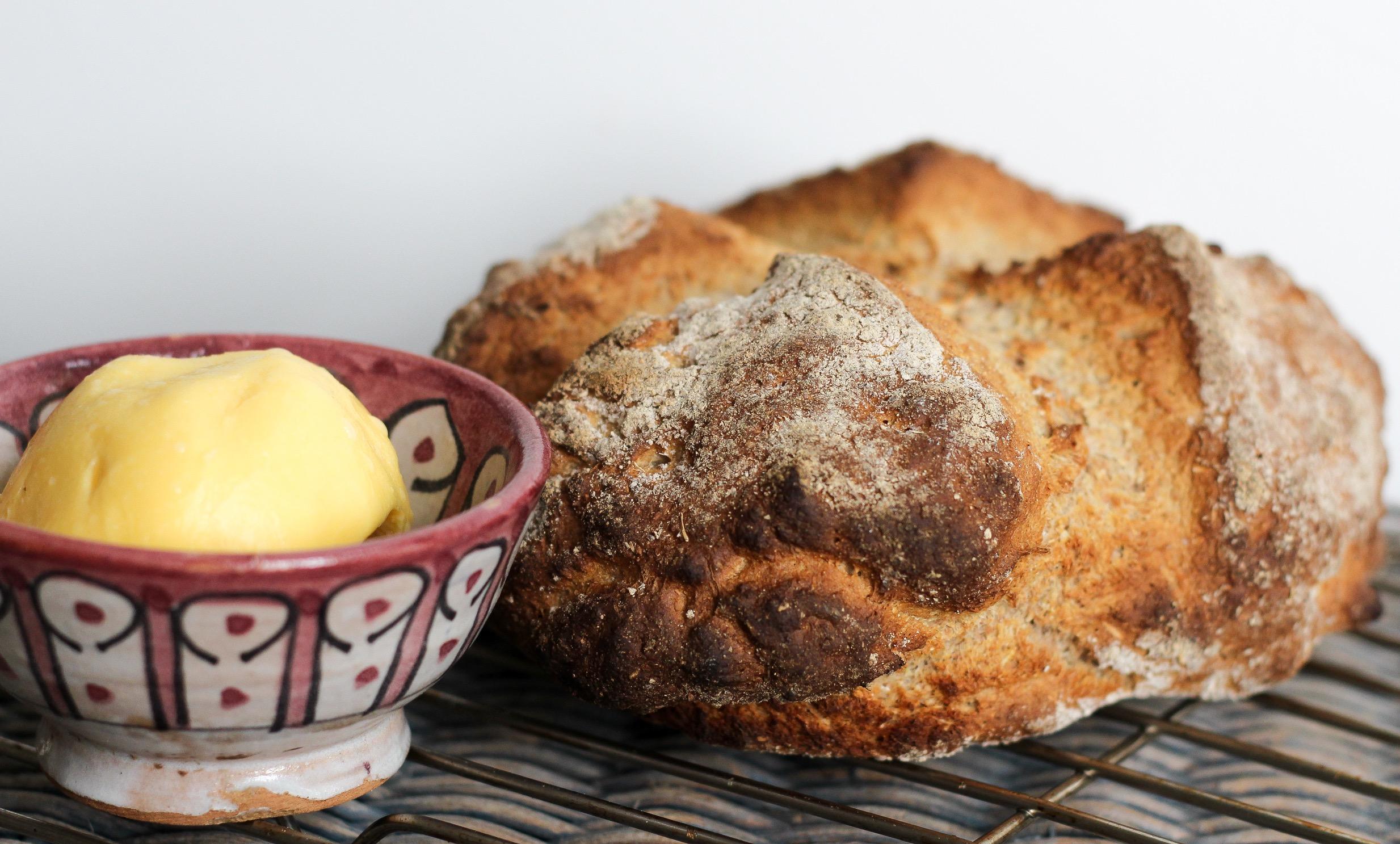 Spelt Soda Bread with Homemade Butter