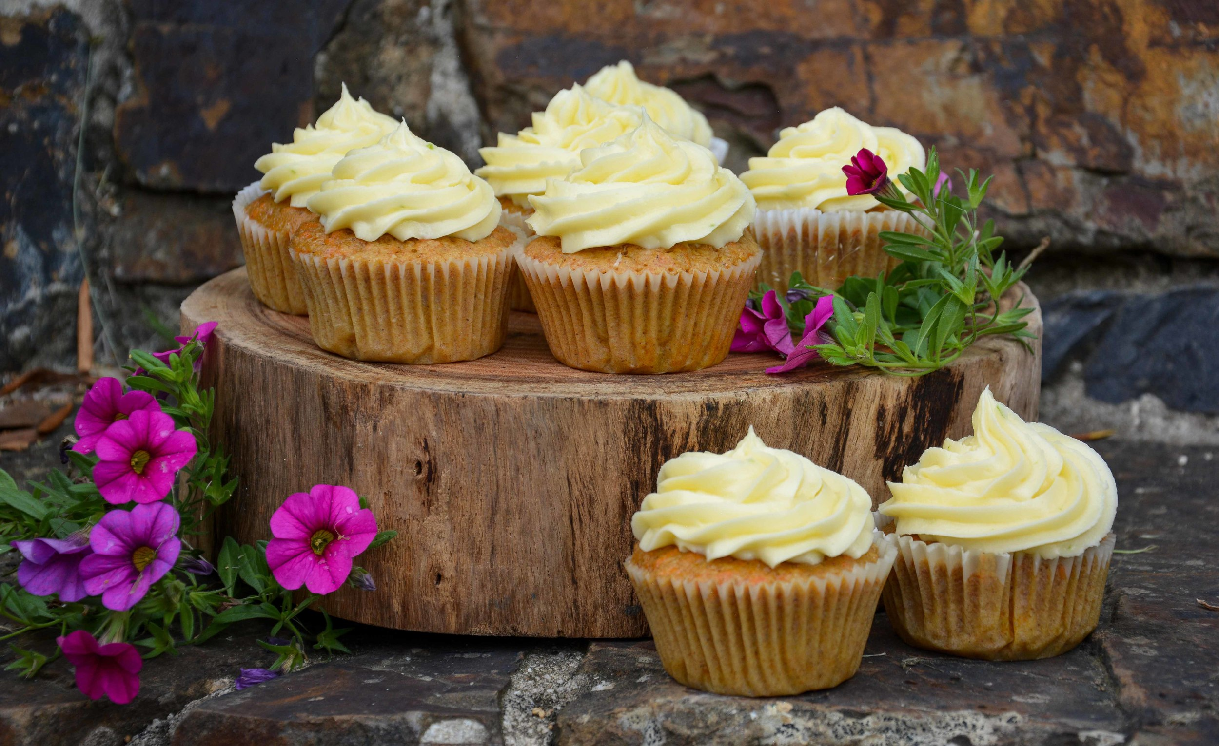 Carrot Cupcakes with Lime Cream Cheese Icing