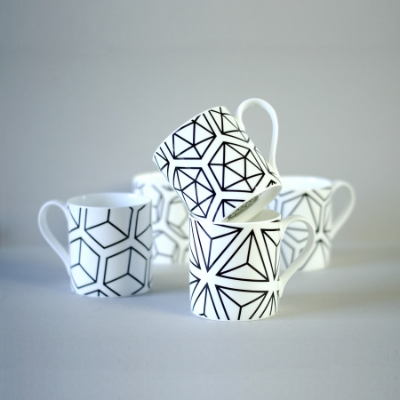 Alfred and WIlde //Set of 5 black platonic solid mugs - £55.00