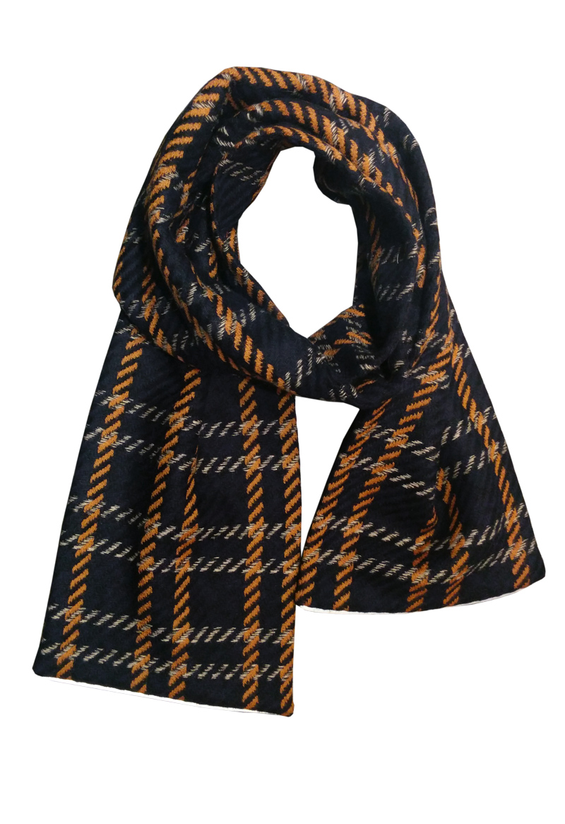 """The """"Oscar  """"   - Scarf (54"""") with 3M reflective piping.  Price:  $110.00  Well Made:  Los Angeles"""