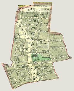 The bounds of the Civil Parish of Spitalfields, c.1885.