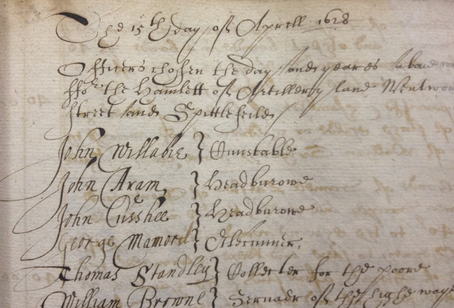 """Records of a town meeting held in the """"hamlett of Spittlefields"""" on the 15th day of August 1628. Note the appearance ofWilliam Browne who had taken the lease of """"three acres of pasture"""" in 1656 and subsequently laid outthe street today calledQuaker Street."""