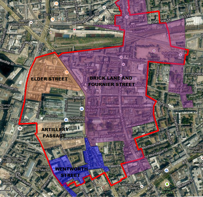 Local Conservation Areas superimposed on a map of the Spitalfields Neighbourhood Planning Area
