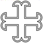 """""""A cross moline voided"""" from the arms of Walter Brune the founder of Spitalfields Priory."""