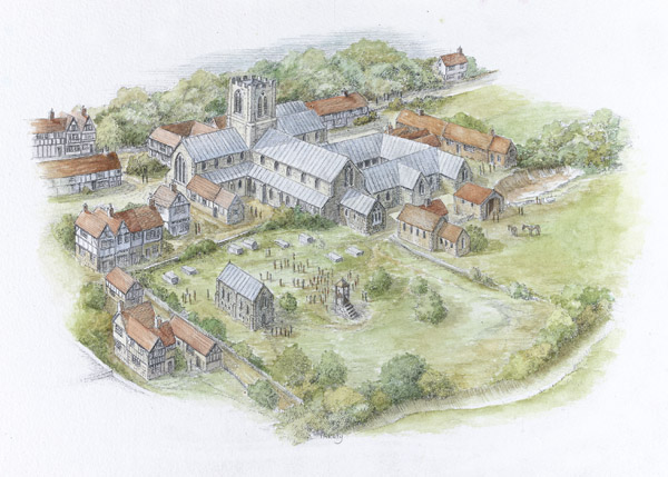 An artists impression of how the Hospital of St. Mary without Bishopsgate may have appeared before its dissolution. (Source: Museum of London)