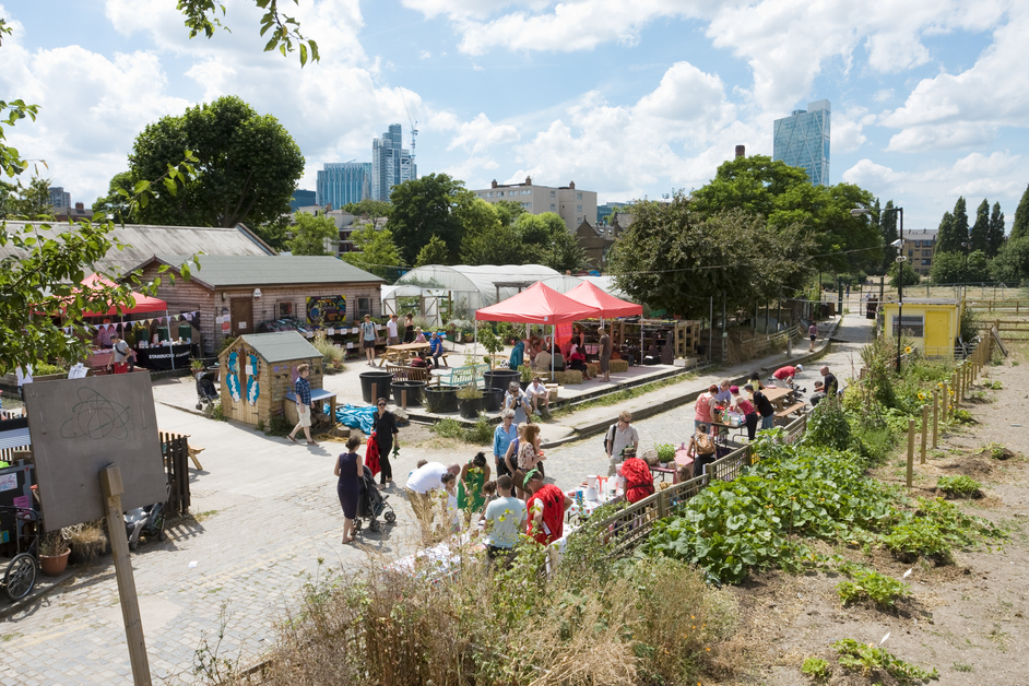 Spitalfields City Farm is open every day from 10am until 4pm. Produce is available for sale and it is popular place with families and young children.