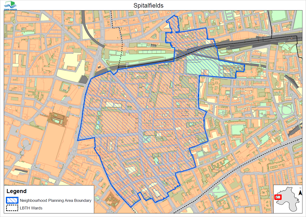 The boundaries (see map above) of the Spitalfields Neighbourhood Planning Area were the outcome of public consultation meetings held in July and August 2014. A version of these bounds were formally adopted by the Spitalfields Neighbourhood Planning Forum at its Inaugural Meeting on 18 August 2014 and were subsequently amended by the London Borough of Tower Hamlets on 5 April 2016. This final version of the bounds, as amended, was ratified by the Spitalfields Neighbourhood Planning Forum at its Special General Meeting on 26 April 2016.