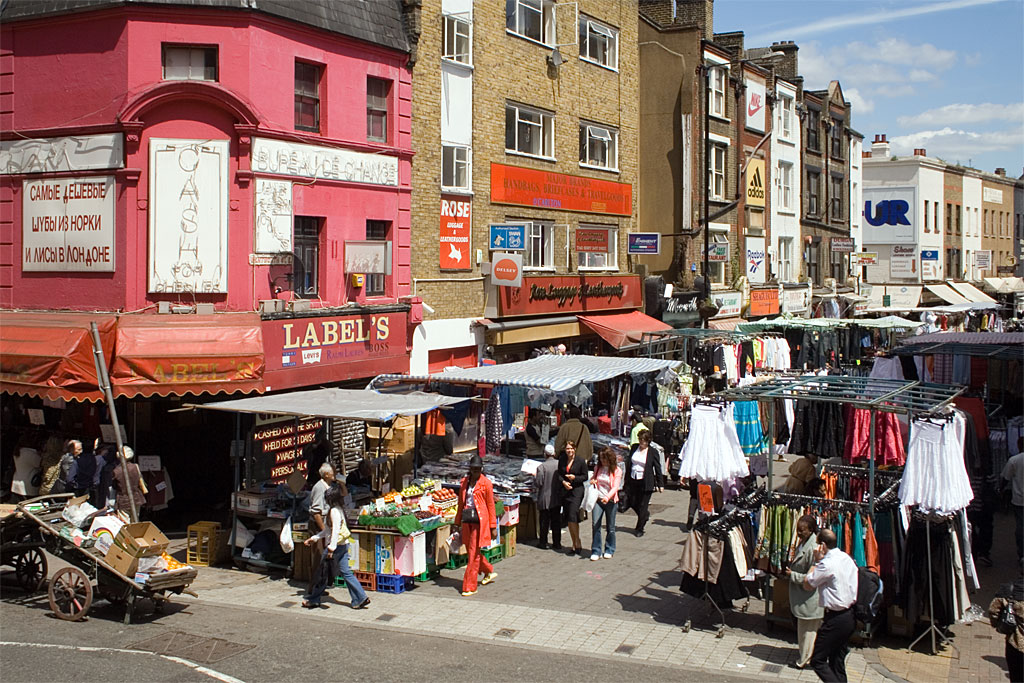 Junction of Petticoat Lane (Middlesex Street) and Wentworth Street.