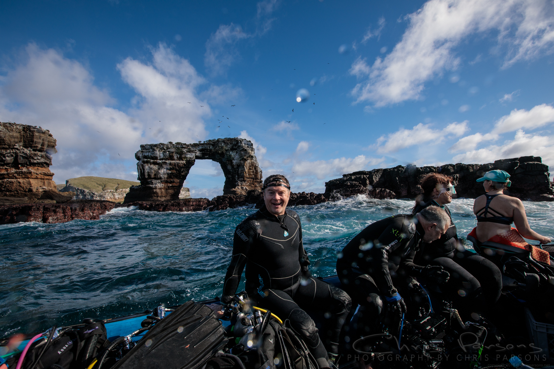 Finishing up a dive at the incredible Darwin's Arch. This may be the single best dive site in the world, and the topside scenery is just incredible.