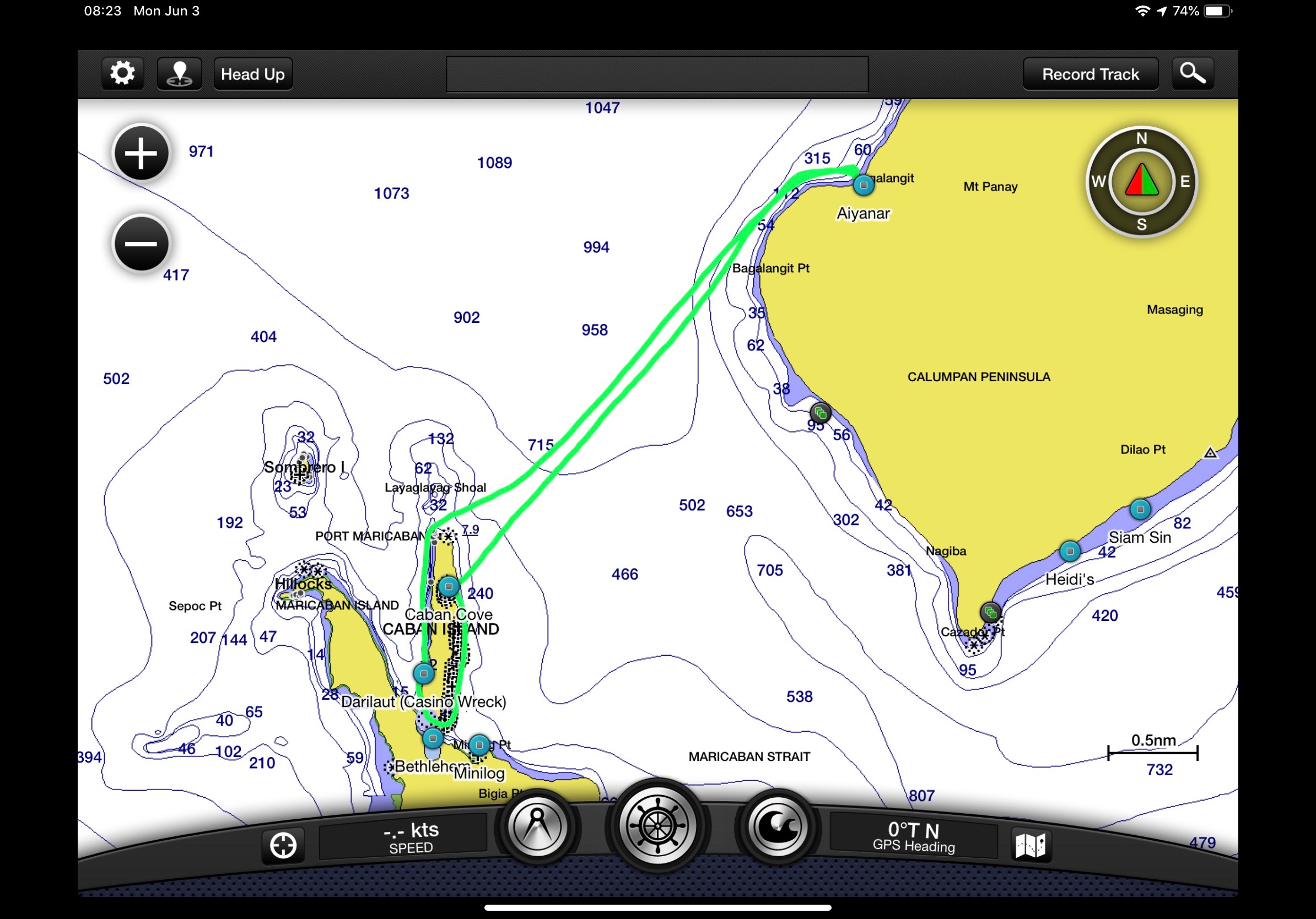 A sample of one of the tracks, displayed in my chartplotter app on my iPad. This was a two tank dive at Darilaut and Caban Cove.