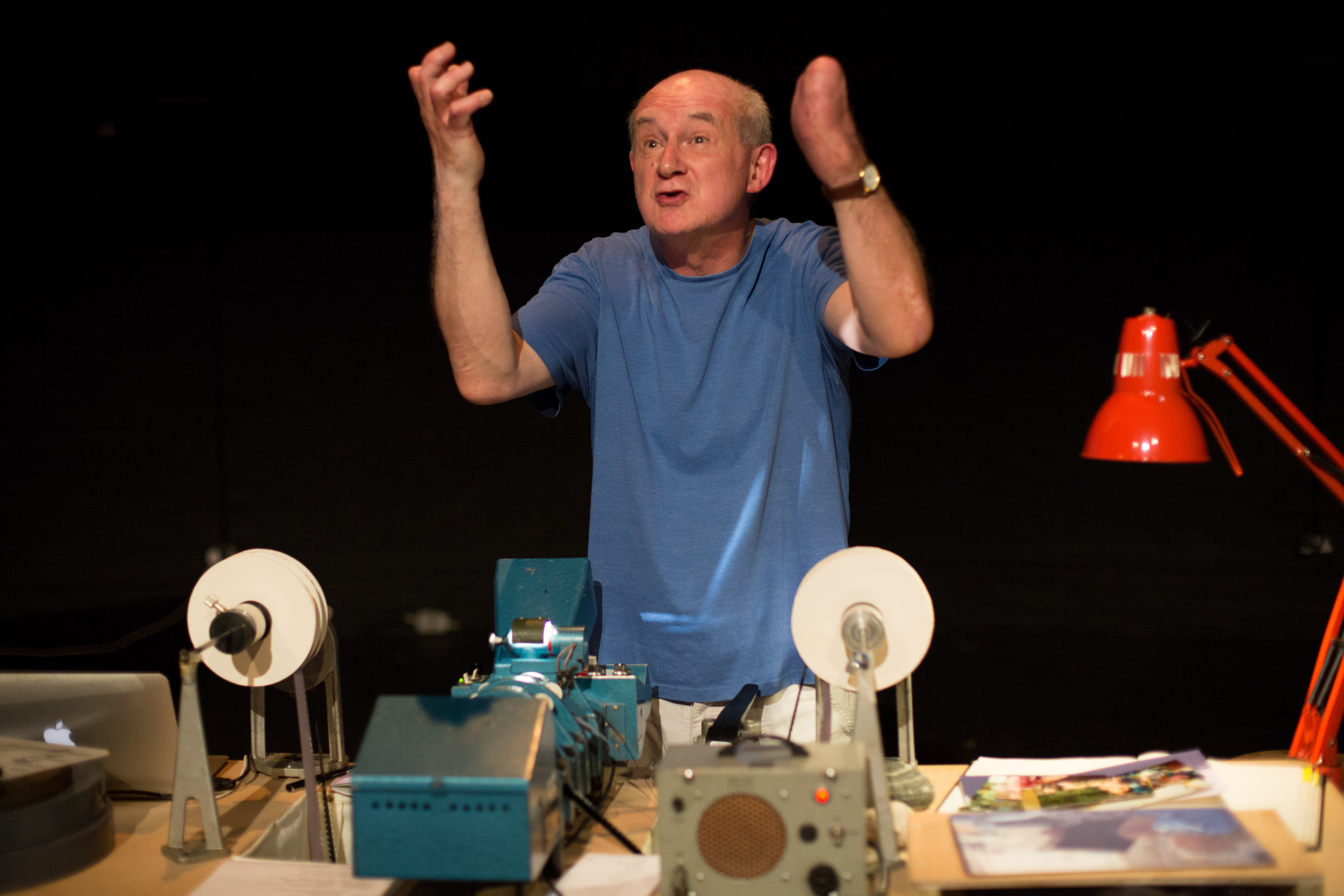 "Pip Heywood performs his play ""THE EYE of THE HARE"" at Bristol Old Vic. Photo: Paul Blakemore"
