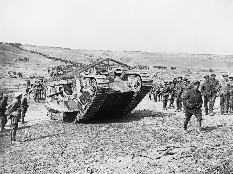 Tank preparing to advance at Flers Courcelette