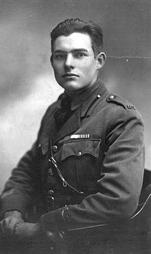 Ernest Hemingway ritratto durante la Grande Guerra sul fronte italiano