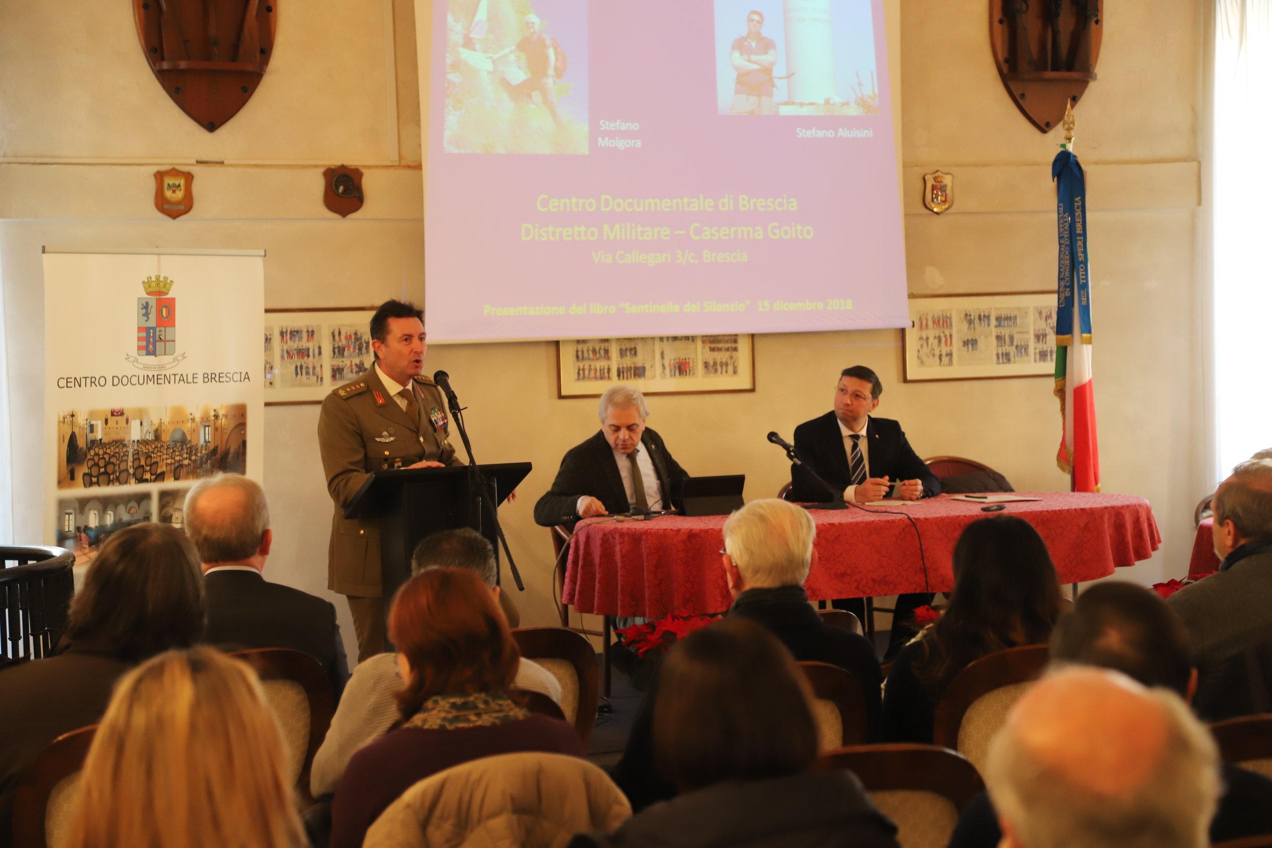"""Presentazione del libro: """"Sentinelle del Silenzio"""" - Ce.Doc. Esercito - Brescia, 15 dicembre 2018"""