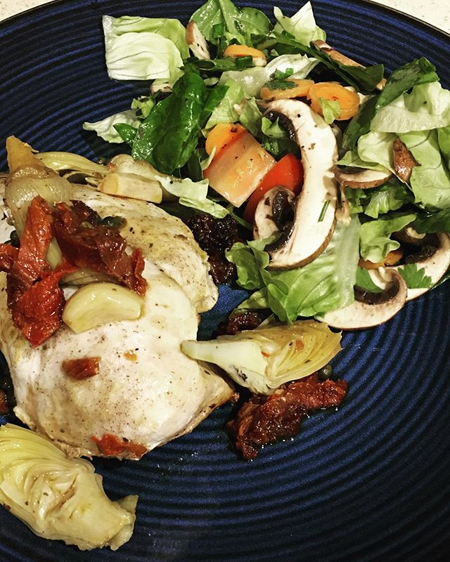 Another healthy, easy dinner! Chicken with artichoke hearts, sundries tomatoes, garlic, and capers - in the pressure cooker! Only takes 10 minutes to cook.  Add a fresh salad with lots of veggies and enjoy! #healthyeating #healthychoices #chiropractor #chiropractic #chicospineandwellness #chico #health