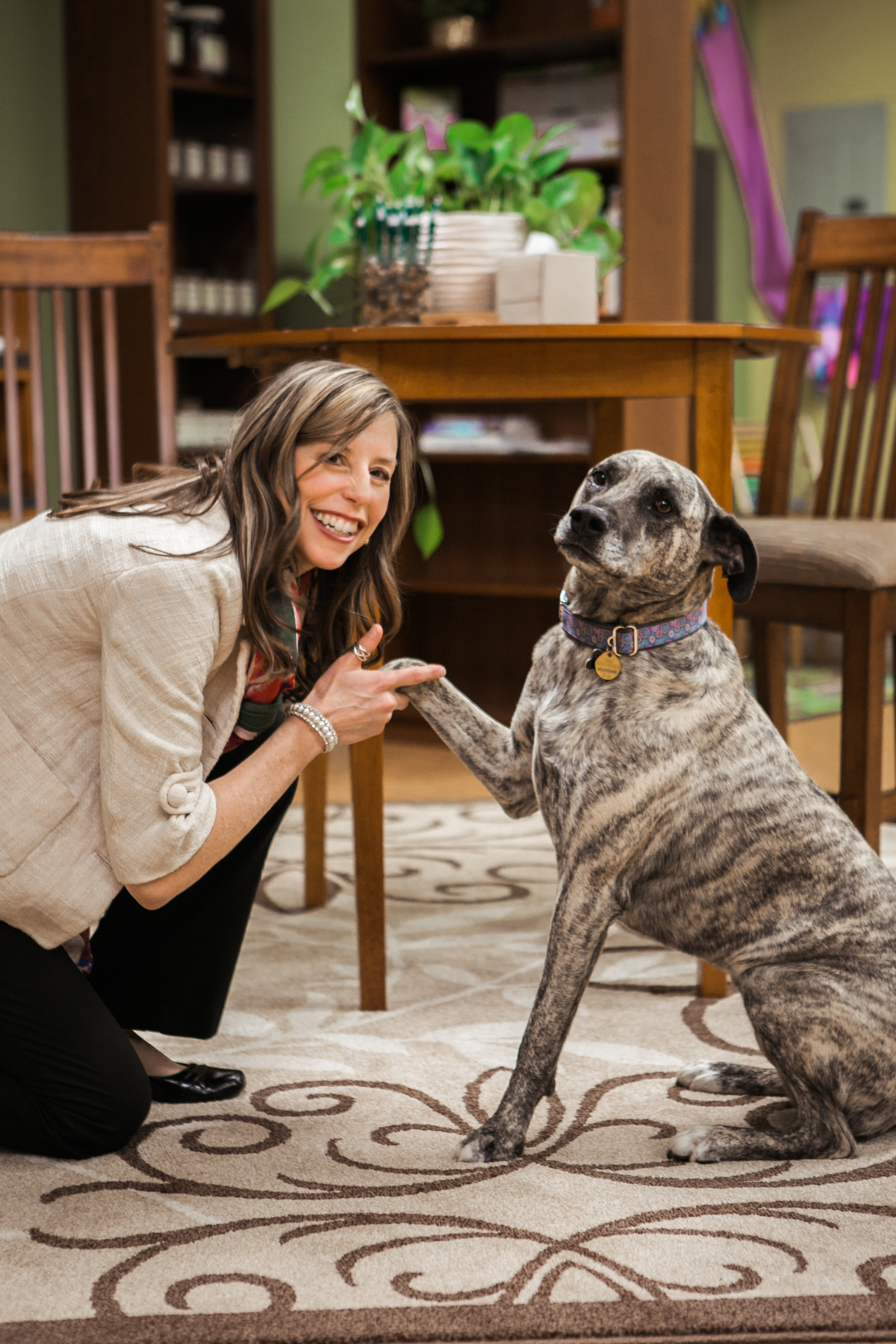 Langley offering a paw to Dr. Michelle.
