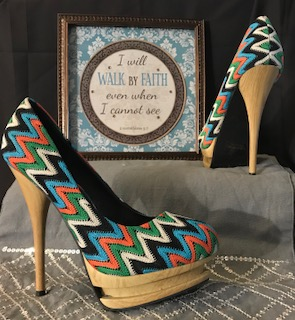 ALBA Multi Colored wood platform Heels (green orange white blue pattern) Size 8  $39:97
