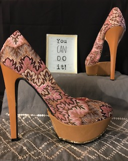 Shoe Republic La multi (pink tan brown) platforms print, Size 8 $39.97