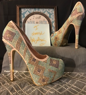Mascotte 6 inch Heels, tan base with green and bronze crystal like stones. Size 8 $49.97