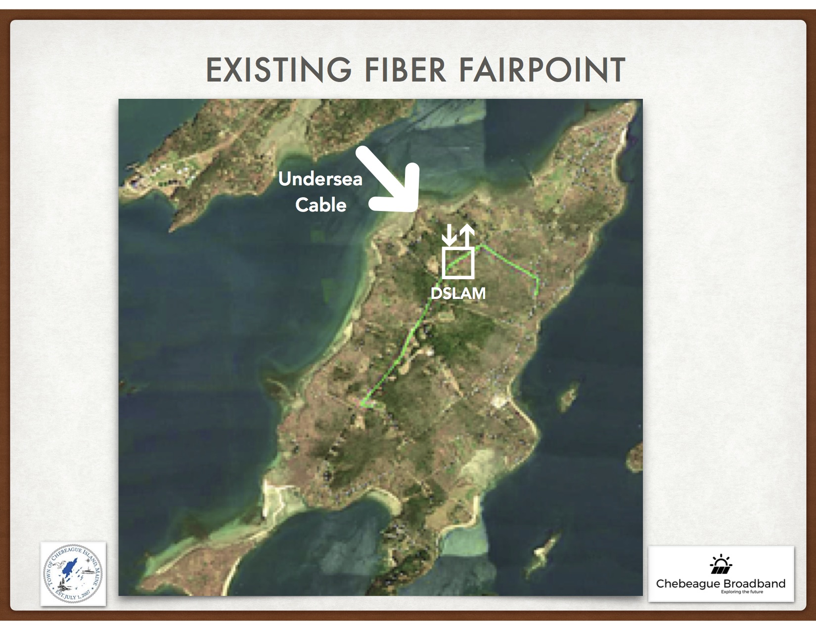 Fairpoint's Data comes via undersea fiber cable up to the DSlam (next to Clam Shack). They run fiber (green line) to the Library and School. But, the rest of the island runs on copper.