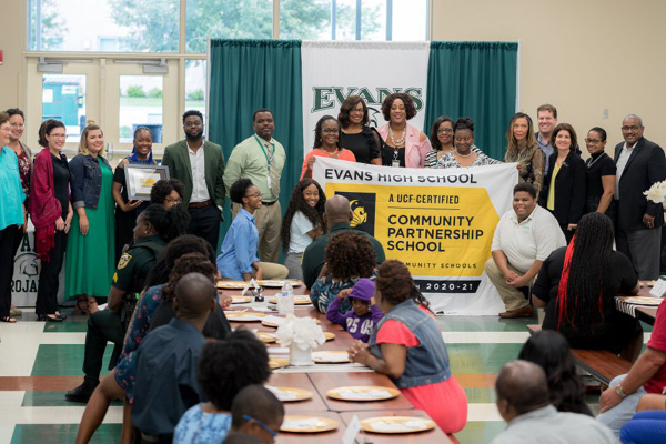 They're Number 1: Faculty and community partners celebrate Evans High School becoming the first UCF-Certified Community Partnership School.