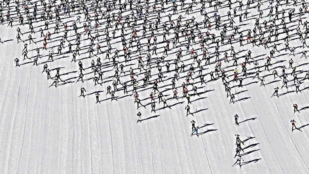 "MensJournal.com   A Swiss Ski Invasion  The Ski Marathon in Switzerland's Engadin Valley, a plush Alps playground four and a half hours by train from Zurich, attracts more than 12,000 skiers annually with its storybook scenery. But the start is ""like running with the bulls,"" says Matt Liebsch, an American Olympic hopeful. Skiers have to navigate ""Mattress Hill,"" a downhill plunge through tight-knit trees wrapped in mattresses, which skiers bounce off like pinballs."