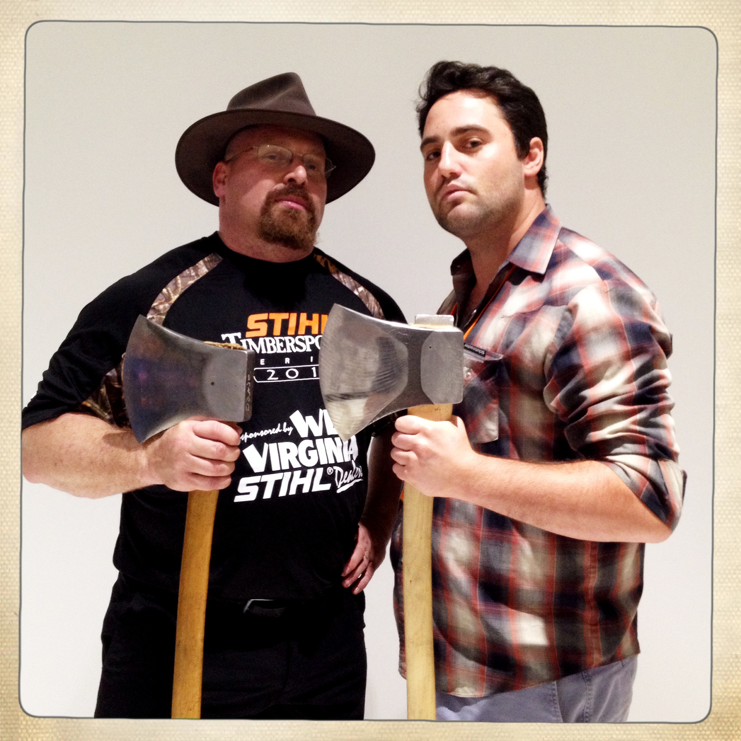 Covering the STIHL Timbersports Series for National Geographic. At least the shirt is appropriate for this photo.