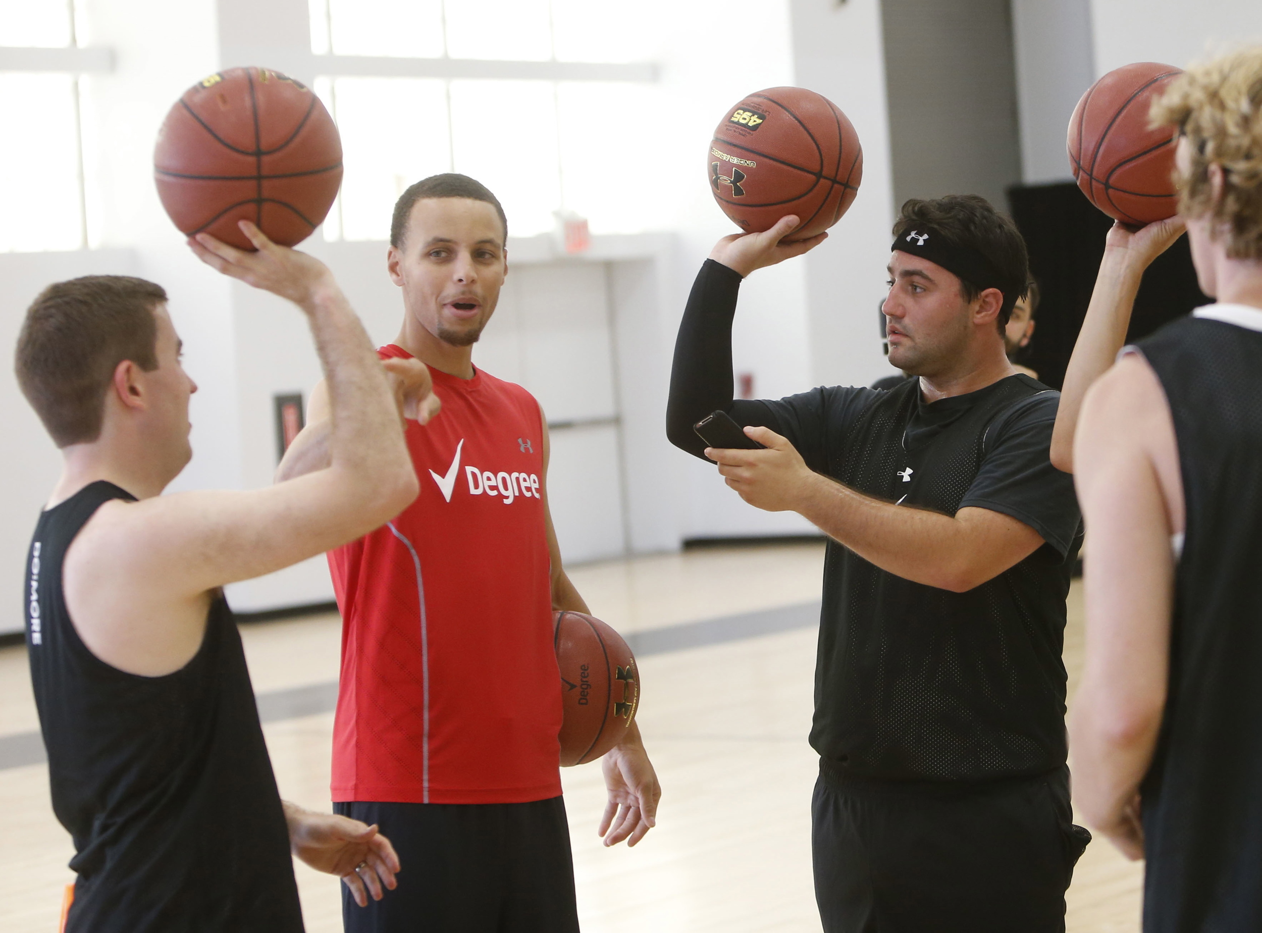 Shooting around with Steph Curry for Maxim.com. We did a 3-point competition. I lost.