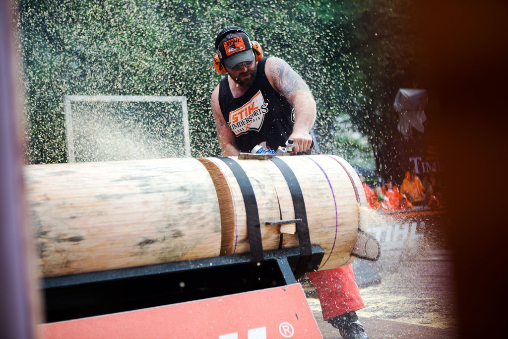 The New York Times   Lumberjack Championships in NYC  On Saturday, tall, bearded, thick-necked men hacked at pine logs with axes and chain saws to determine who was the best lumberjack in the United States. The contest is part of the Stihl Timbersports series and, seeking more publicity on its 30th anniversary, the competition was held in Central Park.