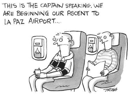 la paz cartoon altitude flight airport