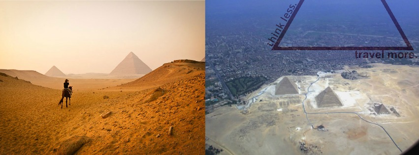 On the left, what you  think  it'll be like to visit the Pyramids. On the right, the disappointment that sits in when you realize they aren't  quite  as remote as you thought they are. Photos Via  Elephant Journal .