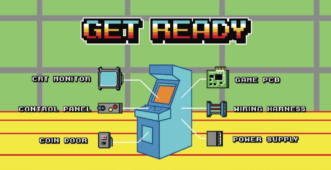 Fig. 3. Level introduction screen displaying the arcade cabinet's anatomy. Kieran Nolan, Arcade Operator, 2017. Image courtesy Kieran Nolan.