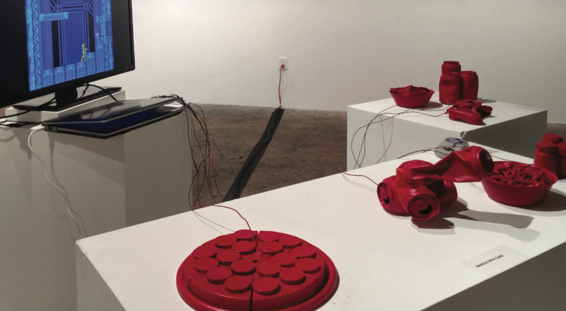 Fig. 1. Eddie Lohmeyer,  Super Metroid: Nightmare Edition  installation view, 2016. Image courtesy Eddie Lohmeyer.