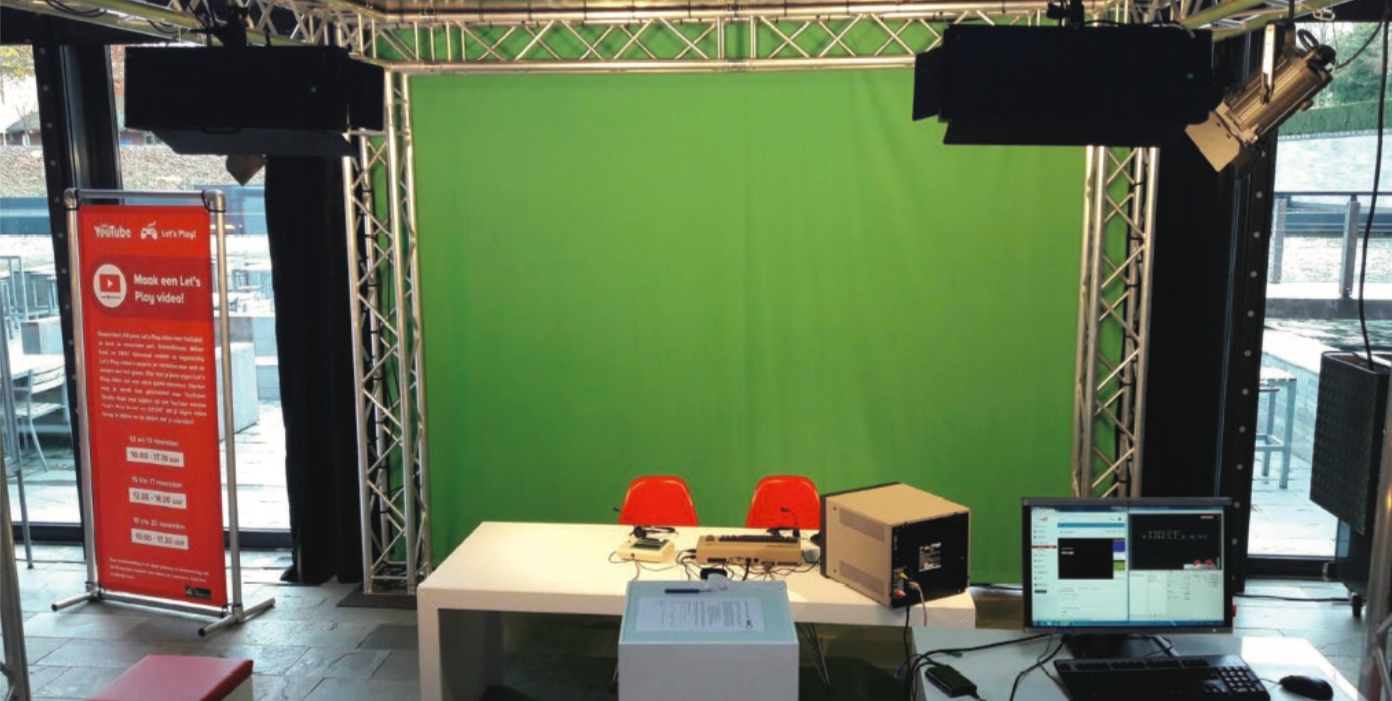 Fig. 1.5. The  Let's Play  live streaming setup, photograph included in Hugo Zijlstra's internship report, 5585120 Internship, Beeld en Geluid University.
