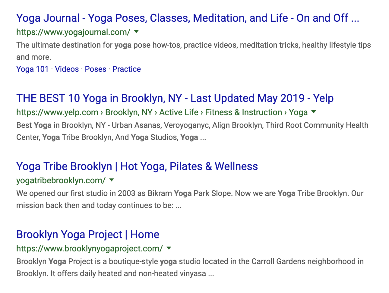 """This is an example of Relevancy Highlighting - Notice how the word """"Yoga"""" is featured in bold in the search results when we do a search for the word """"Yoga""""."""