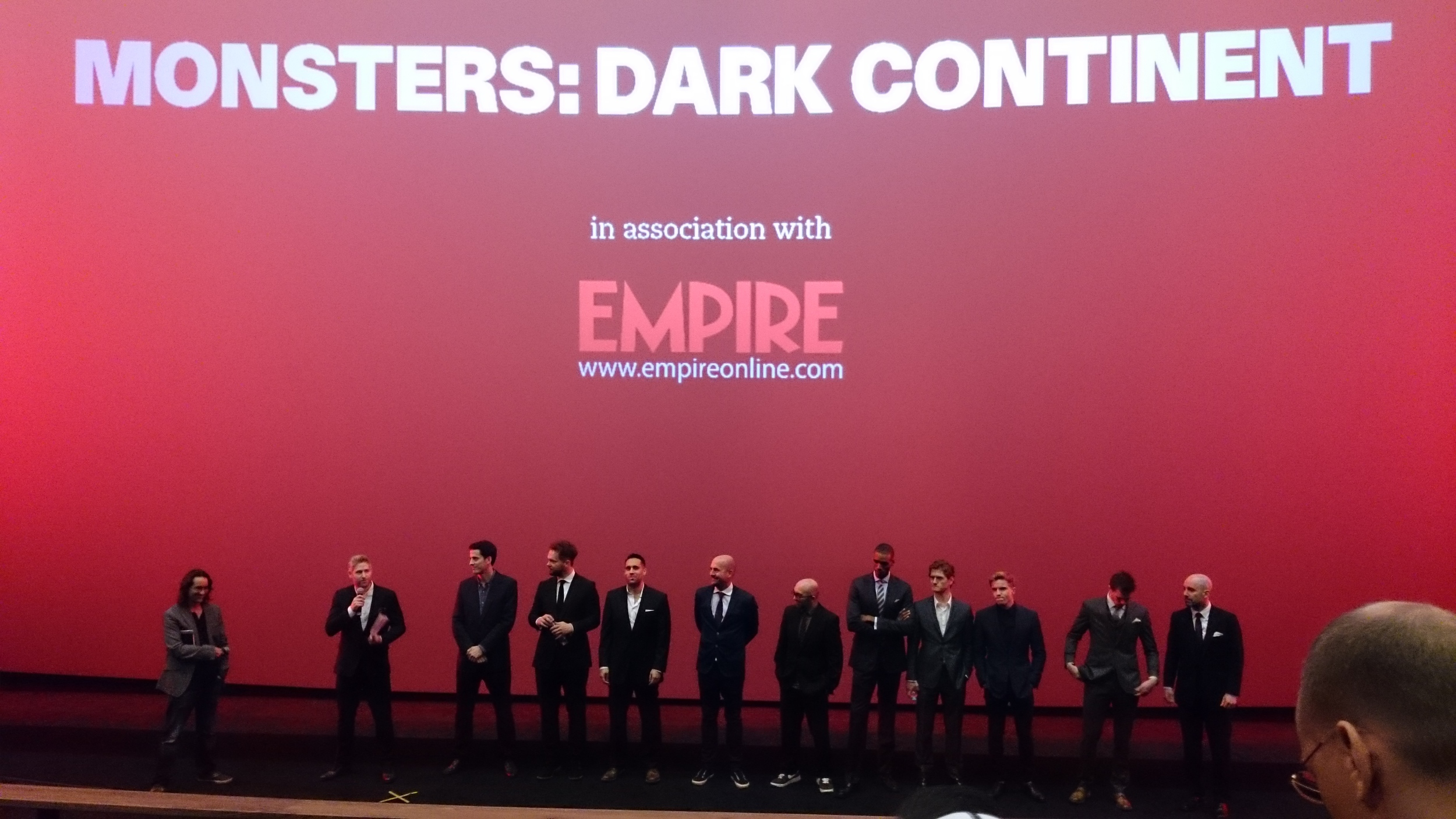 It's that Dan Jolin out of Empire Magazine with Tom Green and the Monsters: Dark Continent team
