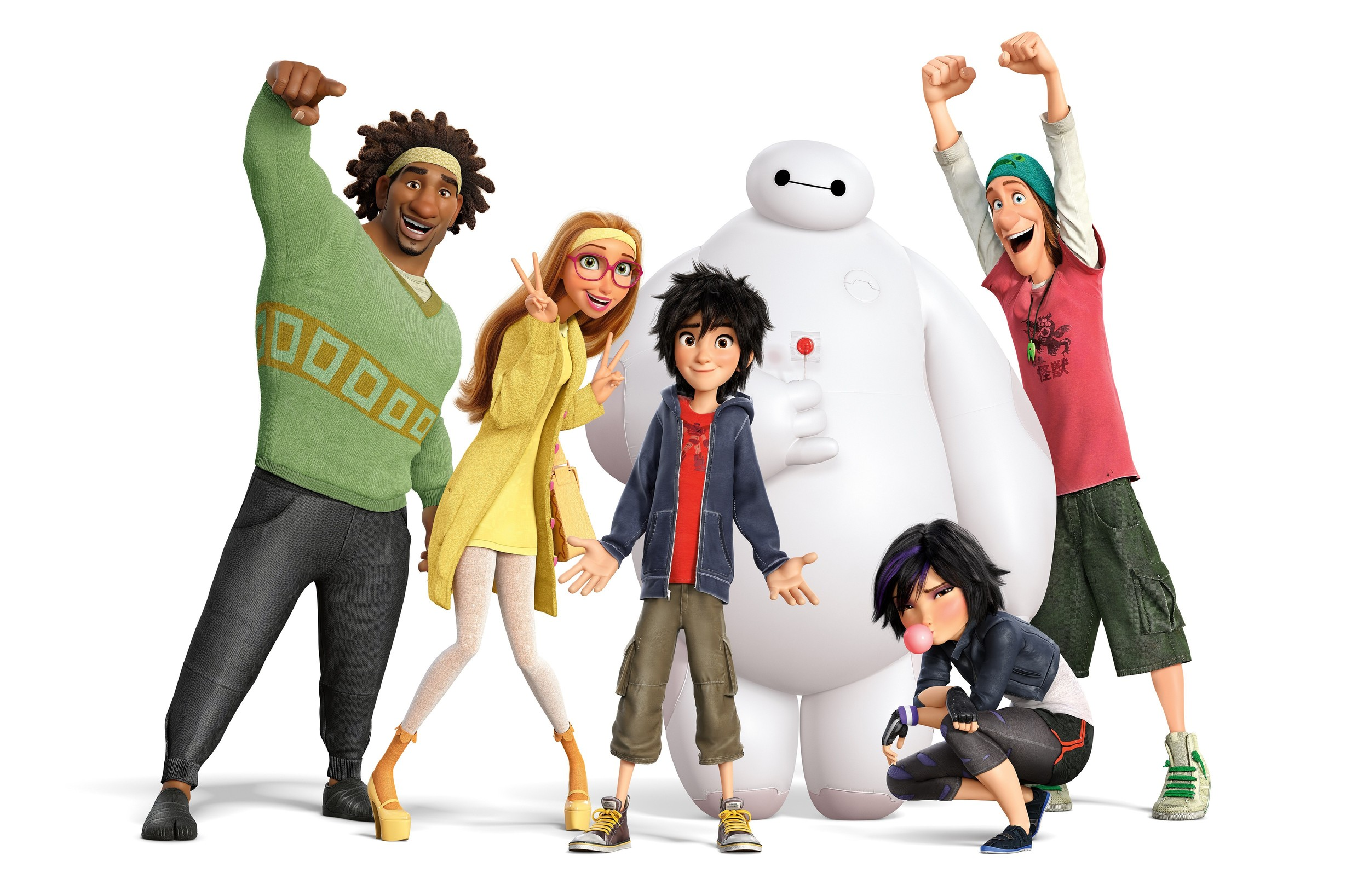 Our Big Heroes. Right to Left: Wasabi, Honey Lemon, Hiro, Baymax, GoGo and Fred.